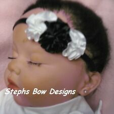 BLACK & WHITE SATIN ROSETTE DAINTY HAIR BOW HEADBAND WEDDING PREEMIE NEWBORN