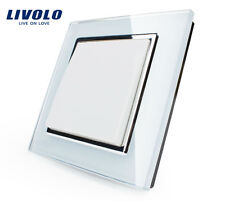 1Gang 1Way Wall Light Push Button Switch 2 Colors Crystal Glass Panel AC110~250V