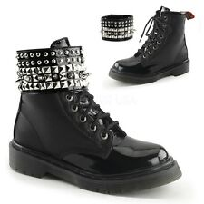 DEMONIA RAGE-106 Women's Black Stud Spike Ankle Cuff Gothic Combat Boots Shoes