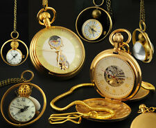 Noble Luxury Mens Lady Golden Brass Hand Winding Mechanical Pocket Watch Antique
