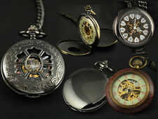 Men Lady Skeleton Hand Winding Mechanical Pocket Watch Steampunk W/chain