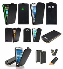Black Top Quality Leather Skin Flip Case Cover Magnetic For Samsung iPhone HTC