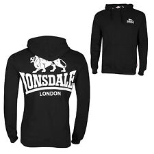 Lonsdale Acton Black Large Logo Hooded Sweatshirt Hoodie Sweater S-XL