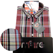 Warrior Retro Short Sleeve Button Down Shirt HAWKING Mod Skinhead Red Black Grey