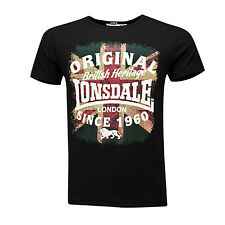 Lonsdale UNION Jack British Heritage Black T-Shirt Boxing 100% Cotton S-XXL Slim