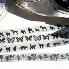 Dog, Cat, Poodle, Butterfly, Tree, Berisfords 15mm Ribbon, Grosgrain, Cream