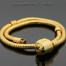 Gold Plated Snake Chain Charm Bracelets Fit European Beads/Clasp 16-23cm - 5pcs