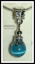EUROPEAN STYLE OR LOBSTER CLASP CLIP ON SKY BLUE CAT'S EYE GLASS BEAD CHARMS