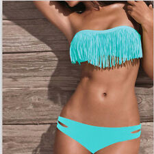 Sexy Women 2PCS PAD Tassel Swimwear Push-up Halter Strap Swimsuit Bikini S M L