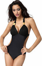 One Piece Neu Schwarz Push Up Halter Side Cut Out Monokini Badeanzug Bademode