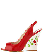 New Manolo Blahnik Maniapla  Wedge Ferrari Red Strappy Sandals Shoes 40 40.5 10