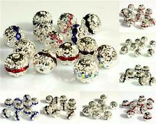 TOP QUALITY 10pcs x FILIGREE RHINESTONE ROUND SPACER BEADS 10mm COLOUR CHOICE