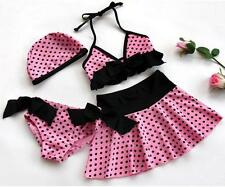 Girls Kids Pink Swimsuit Polka Dots Tankini Bikini Set Swimwear Bathers 4 6 8 10