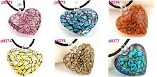 3 COLOR handmade art glass beaded pendant necklace HEART P272-7