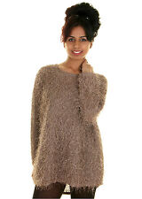 New Ladies Women Eyelashes Shaggy Hairy Baggy Oversize Longer Back Jumper Top