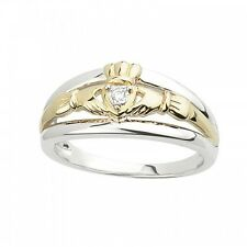 New Ladies Irish Claddagh Ring-Silver & 10k Yellow Gold w/ Diamond Size 5-10