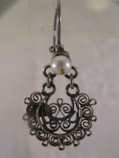 CHANDELIER EARRINGS SILVER 4 GEMS TURQUOISE CORAL MALACHITE or PEARL MEXICO NEW