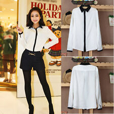 Women Lady Long Sleeve Cotton Top Button Down Collar T Shirt Relaxed Blouse Tee