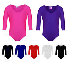 Girls Gymnastics Shiny Leotard Stretchy Dance Ballet Sports Sleeved Top Uniform