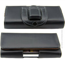 Black Horizontal P-Leather Case Pouch + Holster Belt-Clip for HUAWEI Phones. New