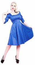 H & R london BLUE WHITE POLKA DOT 1950's rockabilly Dress Housewife Vintage 5368
