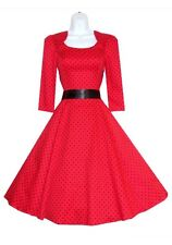 H & R london RED Polka dot 50's pinup Dress Vintage Rockabilly  VTG lucy 5367