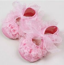 Baby New born Infant Girls beige Pink Christening Baptism Lace Shoes 0-12momths