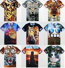 Men's Womens Space Galaxy Cat Tiger Leopard Floral Figure Tee Round Top T-Shirt