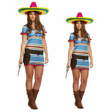 ADULTS MEXICAN GIRL COSTUME LADIES WOMENS FANCY DRESS  COMPLETE OUTFIT ONE SIZE