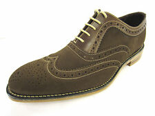 Mens Loake Brown Suede & Leather Lace Up Formal Brogue Shoes F Fitting FLOYD