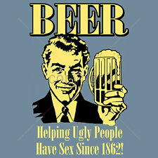 Funny T Shirts Beer Helping Ugly People Have Sex Party Drinking Tshirt Small 3XL
