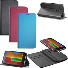 New Leather Wallet Flip Case with Stand for Motorola Moto G - Retail Packaging