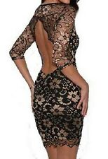 JOHN ZACK BLACK GOLD SCALLOPED BACKLESS FITTED BODYCON PENCIL STRETCH LACE DRESS