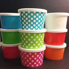 50 - Small 4oz. paper Hot and Cold Cup  WITH LIDS  Ice cream, desserts, treats