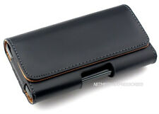 Black Horizontal P-Leather Case Pouch Holder + Holster Belt-Clip for ZTE Phones