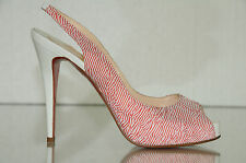 New Christian Louboutin Numero N Prive Red White Sling Platform Shoes 40 39.5