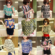 Ethnic Floral Chiffon T-Shirt Casual Puff Long Sleeve Vintage  women Tops Blouse