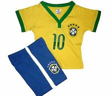 0-3 YEARS OLD BABY 100% COTTON BRAZIL HOME JERSEY & PANTS SOCCER UNIFORMS!!