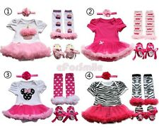 4pcs Newborn Infant Baby Girls Headband+Romper+Leg +Shoes Outfit Clothes 0-9M