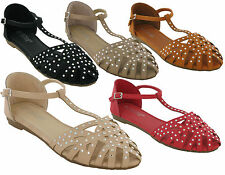 LADIES GLADIATOR DIAMONTY FLAT STUD SHOES WOMENS BUCKLE SANDALS UK SIZES 3-8