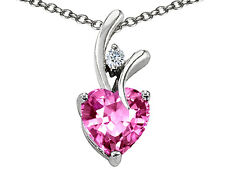 7MM OR 9MM HEART SHAPE PINK SAPPHIRE PENDANT SOLID 14K YELLOW OR WHITE GOLD