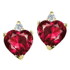 2.03 CARAT 14K SOLID WHITE OR YELLOW GOLD HEART RUBY STUD EARRINGS BASKET