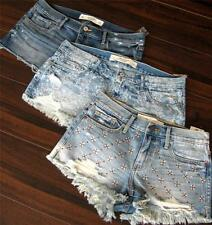NWT 2014 ABERCROMBIE & FITCH Premium Bling Hardware Classic Denim Shorts
