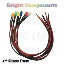 Pre-Wired LEDs 3mm/5mm/10mm Diffused : 9V ~ 12V : Various Colours Prewired