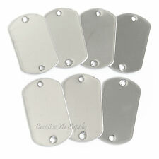 50 PCS TWO HOLE BLANK STAINLESS STEEL DOG TAG SHINY OR MATTE MILITARY SPEC