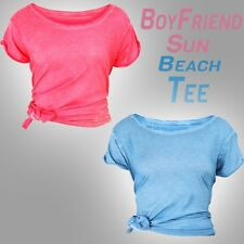 Womens Boyfriend Summer Sun Beach T Shirt All Blue Red Acid Wash Super Tee Top