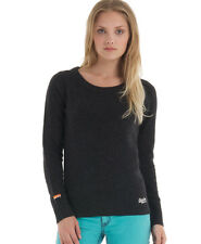 New Womens Superdry Harrow Crew Jumper Charcoal Grey AA