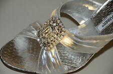 $1125 New MANOLO BLAHNIK JEWELED Silver PYTHON Epais Wedding Sandals SHOES 37 39