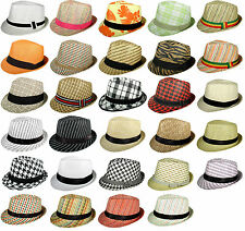 SUMMER STRAW FEDORA TRILBY CUBAN STYLE UPTURN SHORT BRIM CAP HAT MANY STYLES NEW