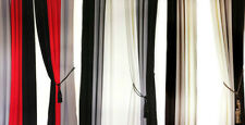 PAIR OF SLOT TOP READY MADE CURTAINS RED BLACK GREY,WHITE,PURPLE & MORE